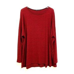 Harlowe & Graham Burnout Red Boatneck Sweater